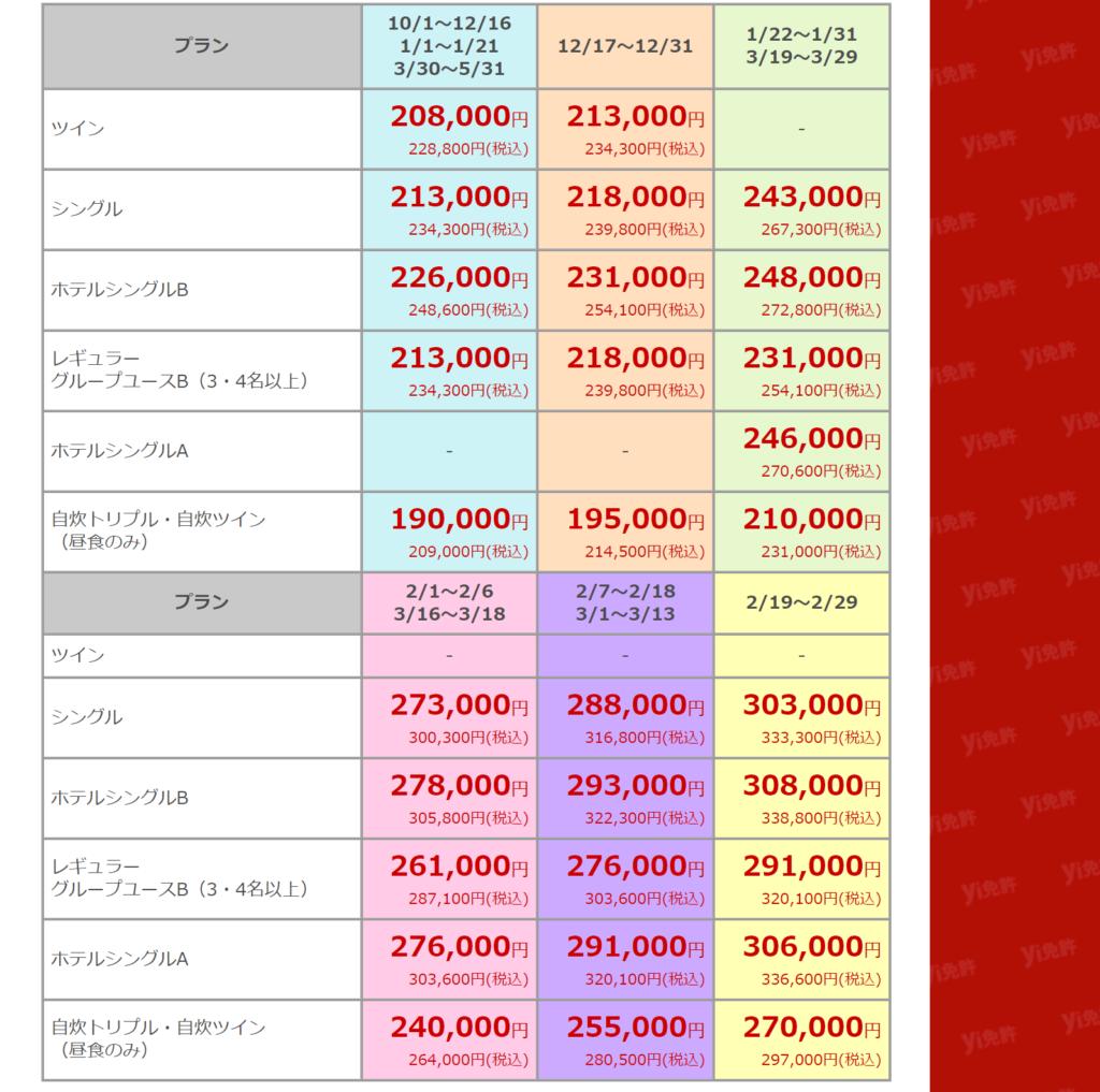 プラン別の料金表2